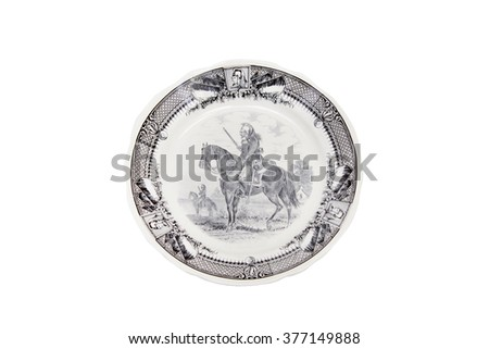 Old French decorative plate with picture of dragoon. (Made in France. The 19th century).