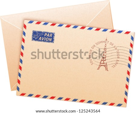 Old french envelope with Eiffel tour and sign par avion. Vector version also exist.