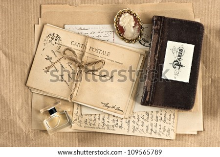 old french letters and postcards. vintage nostalgic background
