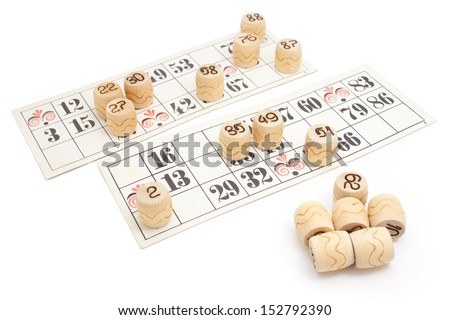 Old French lotto game card-boards and numbers isolated on white background - stock photo