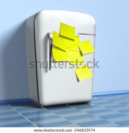 Old fridge with yellow stickers (3d) - stock photo