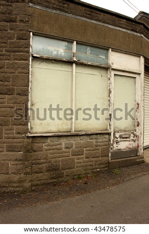 Old front of a shop gone out of business