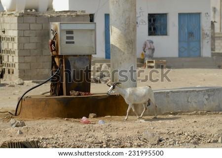 Old fuel station, Hadramaut valley, Yemen.  - stock photo