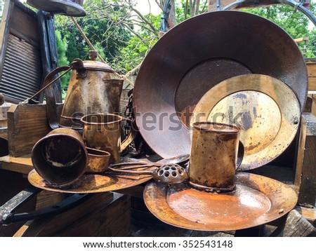 Old Full Set of Variety Brass Kitchenware, Vintage Style - stock photo