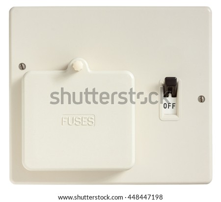 Old Fuse box switched off isolated on white with clipping path