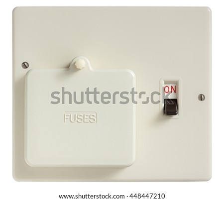 Old Fuse box switched on isolated on white with clipping path - stock photo