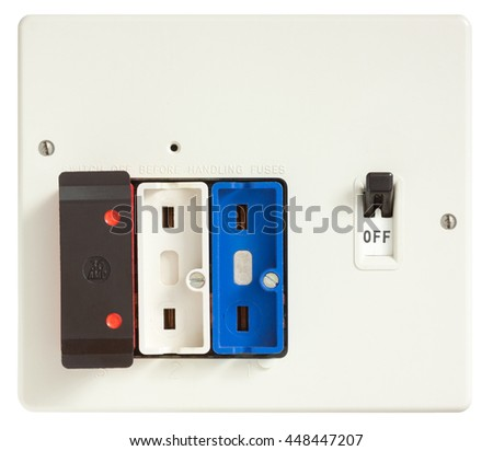 Old Fuse box with two fuses removed isolated on white with clipping path