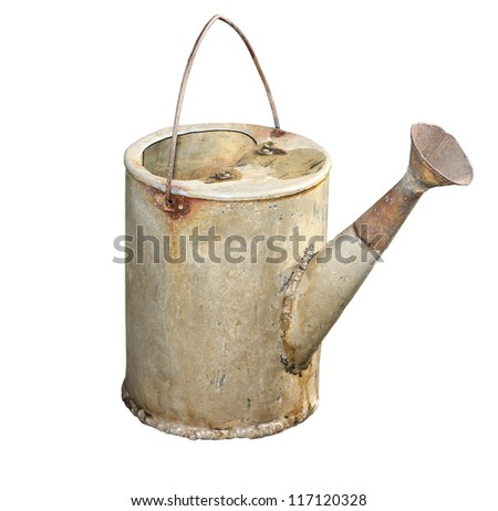 Old galvanized watering can isolated on white background. - stock photo