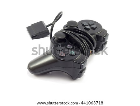 Old game controller on white background - stock photo