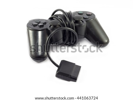Old game controller on white background
