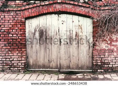 Old garage - stock photo
