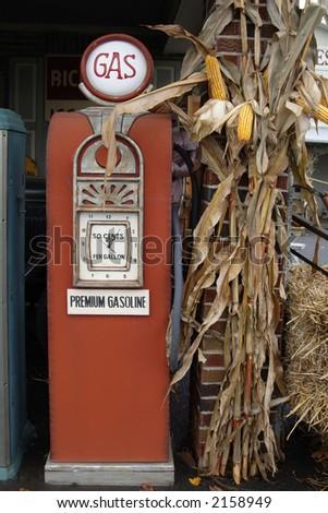 Old gas pump 50 cents per gallon - stock photo