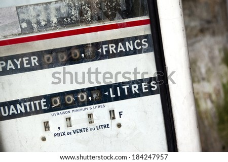 Old gas pump in France