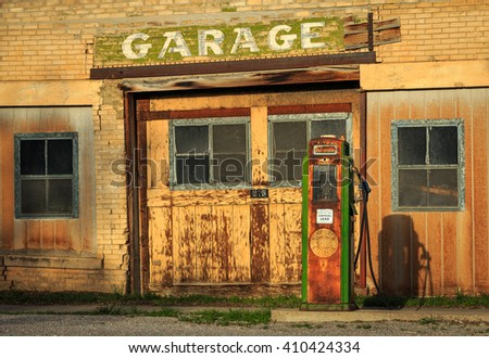 Old gas station and pump in central Utah, USA. - stock photo