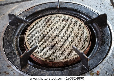 old gas stove - stock photo