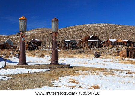 Old gas tanks in Bodie, California, USA.