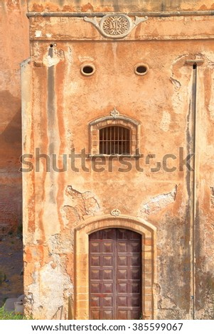 Old gate and fortified walls of the Kasbah of the Udayas in Rabat, Morocco