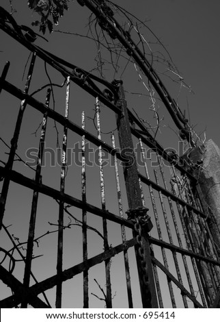 Old Gate in Black and White - stock photo