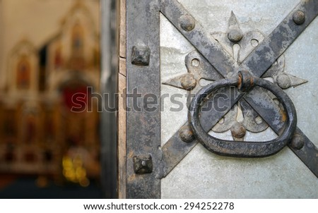 Old gate of the church - stock photo