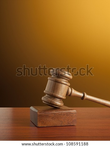 Old gavel - stock photo