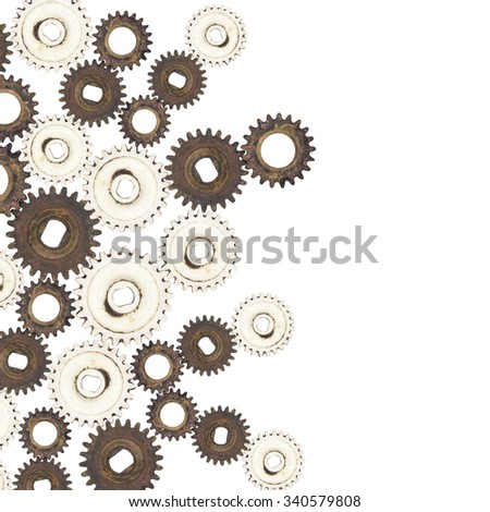 Old gear brass on white background - stock photo