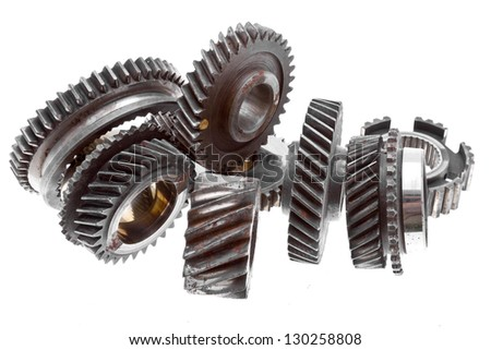 Old gears isolated on white/Old gears