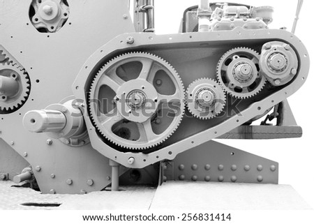 Old gears, machinery parts old metal  in a mine - stock photo