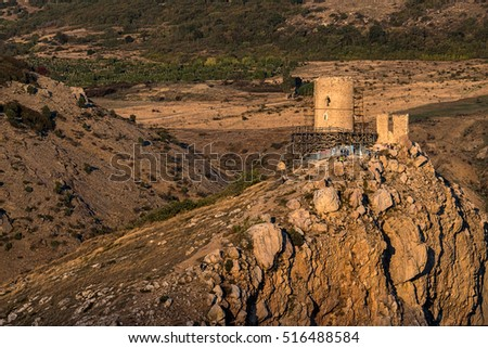 Old Genoese fortress Chembalo on the edge of cliff near Balaclava, Crimea