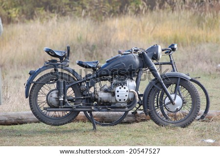 Old german motorbike. WW2 time. Historical reenacting. Kiev,Ukraine