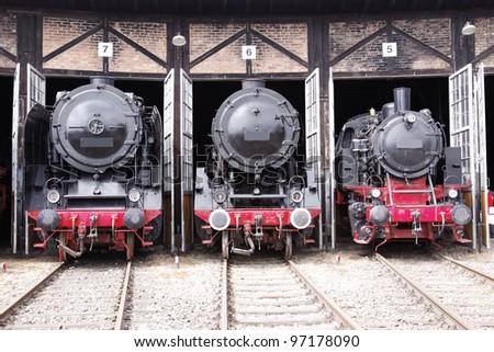 old german steam locomotive - stock photo