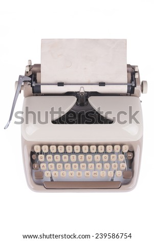 Old german type writer with old paper sheet isolated on white