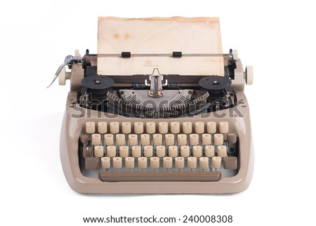 Old german type writer with old paper sheet isolated on white - stock photo