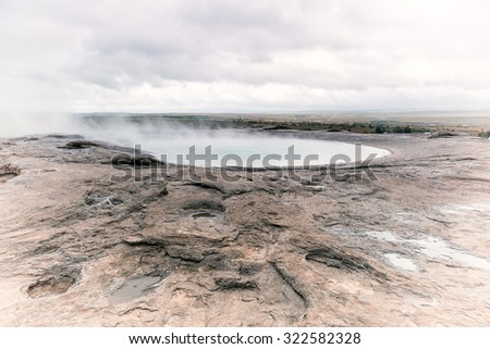 old geyser in iceland. volcanic. - stock photo