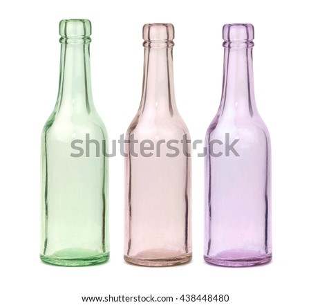 Old glass bottles isolated on white background.