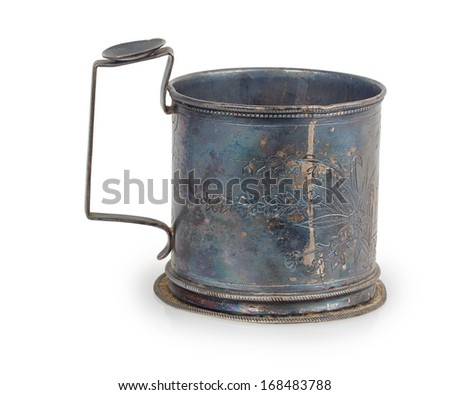 old glass-holder isolated on white background