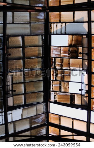 Old glass roof - stock photo