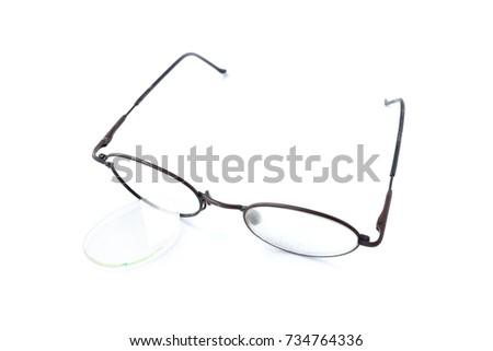 Old Glasses Broken Brown Lens Frame Stock Photo (Royalty Free ...