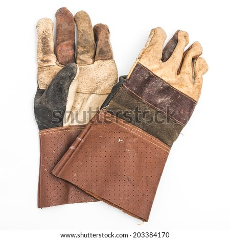 Old gloves - stock photo