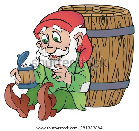Old gnome illustration - stock photo