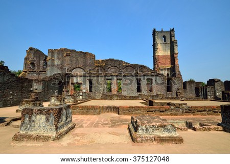 OLD GOA, INDIA - FEBRUARY 4 2016: Church of St Augustine was constructed between 1592 to 1602 by Augustinian friars and it was abandoned in 1835 due to a continual series of deadly epidemics.