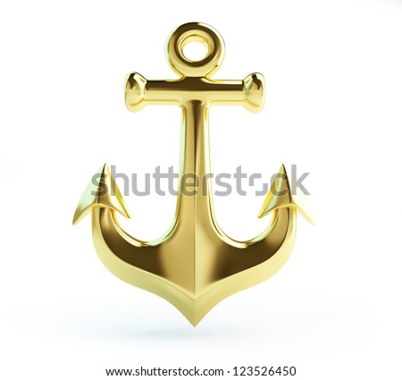 Old Gold Anchor On A White Background