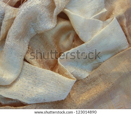 old gold color silk - stock photo