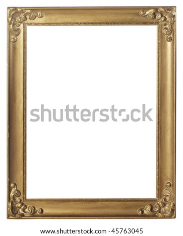 Old gold colored picture frame isolated on white