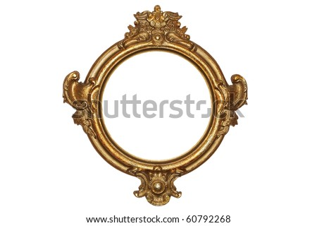 Old gold frame over white background - stock photo