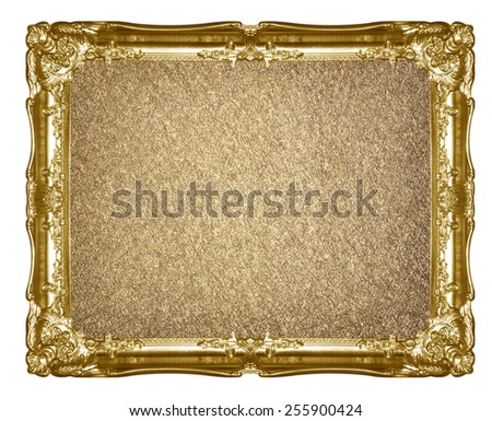 old gold frame with empty grunge canvas  picture, photo, image. beautiful vintage background