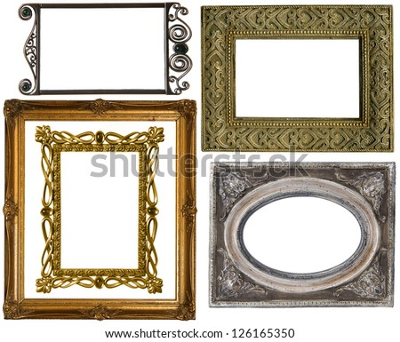 old gold frames on a white background - stock photo