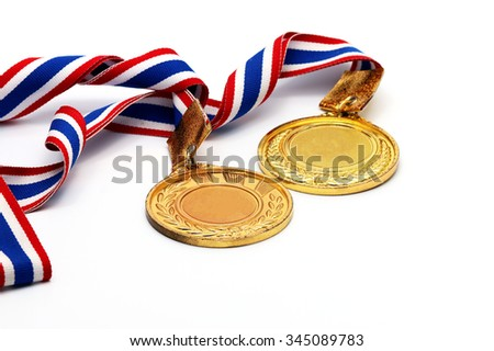 Old Gold medal on white with blank face for text, concept for winning
