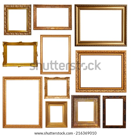 Old gold picture  frames. Isolated on white