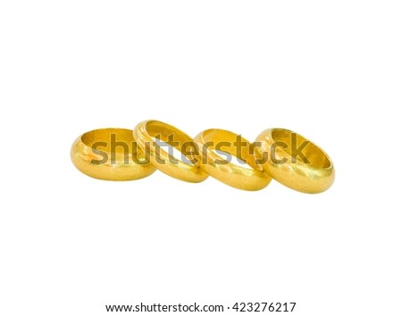 Old gold rings isolated on white background.