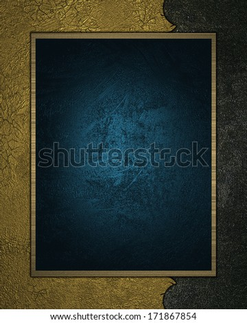 Old gold texture with blue plate. Design template - stock photo